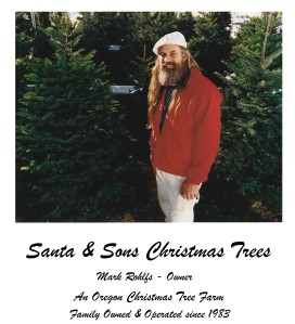 A man with long blond hair and a white hat between Christmas trees. He is wearing a red jacket and white pants.